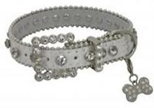 Showman Couture XLARGE SILVER Leather Dog Collar w/ Rhinestones & Bone Charm NEW