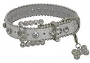 Showman Couture XLARGE SILVER Leather Dog Collar w/ Rhinestones & Bone Charm NEW