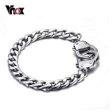 Stainless Steel Handcuffs Silver Bracelet Mens Chain Biker Link Chain 20.5cm