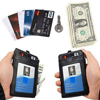 PU Leather ID Badge Card Holder Wallet RFID Blocking Zipper Pocket 5 Card Slots