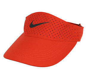 NIKE Swoosh Perforated Aerobill Adjustable Visor Adult One Size Red Black Max