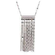 MULTI - ROW CHAIN NECKLACE PENDANT / 925 STERLING SILVER / 18'' ADJUSTABLE