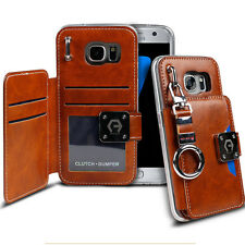Dual Back Leather Flip wallet Metal Ring Clutch Case for iPhone 7 Galaxy S8 9 LG
