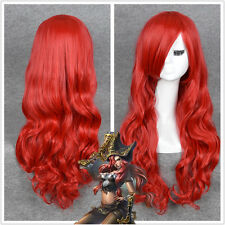 LOL Miss Fortune Cosplay Long Wavy curly Red Heat Resistant Hair Wigs WIG