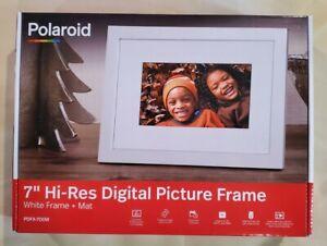 "Polaroid 7"" inch Digital Photo Frame/Clock/Calendar White Frame LED Display"