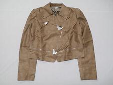 Doublju J. Tomson Women's Faux Leather Power Shoulder Jacket Beige Size 2XL NWT