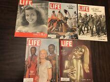 Vintage LOT of 15 LIFE &  LOOK MAGAZINEs 1940, 1964-1965, 1986-1991