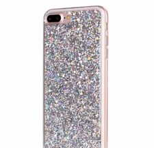 For iPhone 7+ / 8+ Plus - HARD TPU RUBBER GEL CASE SILVER SHINY GLITTER SEQUIN