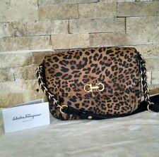 SALVATORE FERRAGAMO Sandrine MediumSaffiano Chain Shoulder Bag, Leopard Purse