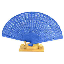 Blue Carved Hollow Hand Wedding Flower Wooden Bamboo Folding Fan Chinese