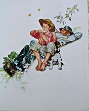 Vintage Norman Rockwell  Four Seasons Grandpa and Me In Summer 16x11 Unsigned