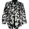 Kim Rogers Black & White Floral Open Front Blazer Jacket Women's Size 12
