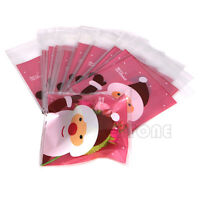 50pcs Christmas Bag Santa Claus Cellophane Gift Cookie Fudge Candy Self Adhesive