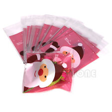 50pcs Christmas Bag Santa Claus Cellophane Gift Cookie Fudge Candy Self Adhesive