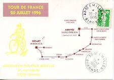 SUR CARTE / TOUR DE FRANCE 20 JUILLET 1996 / BORDEAUX SAINT EMILION 1996