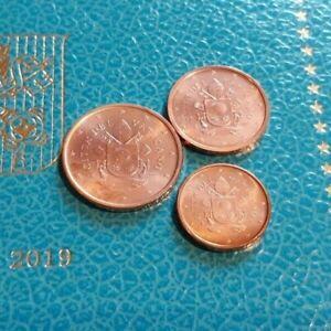MONNAIE VATICAN EURO BU 2019 le trio 1/2/5 cent UNC.refA179/236