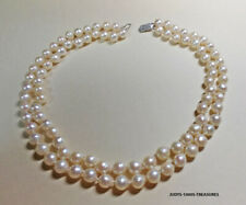 "2 ST AKOYA SALT WATER OYSTER PEARLS 16"" 7mm. SLIGHT BAROQUE 10k WHITE GOLD CLASP"