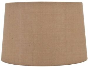 allen + roth 11-in x 17-in Tan Burlap Fabric Drum Lamp Shade