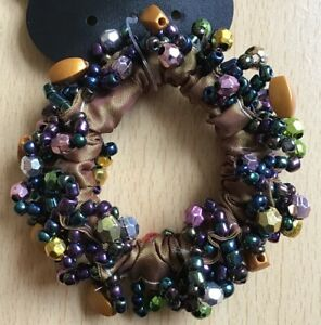 A Pretty Gold Satin And Bead Scrunchie Ponytail Band / Bobble