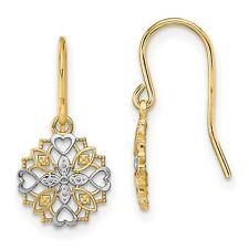 Fancy Dangle Wire Earrings In Real 14k Yellow Two Tone Gold 19 mm x 10 mm 0.92gr