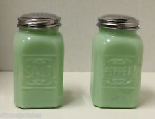 JADE JADEITE GREEN 2 pc Salt Pepper Shaker  SET DEPRESSION GLASS Shakers