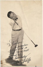Autographed photo, Tommy McAuliffe, Famous Armless Golfer; June 1930