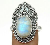 Natural Rainbow Moonstone 925 Sterling Silver Ring Jewelry Sz 8, EA33-6