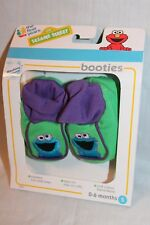 New In Box Sesame Street Cookie Monster Booties Small 0-6 Months