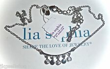 """NWT - LIA SOPHIA """"ICE STORM"""" NECKLACE - SILVER w/DANGLING CRYSTALS - 2014/$34"""