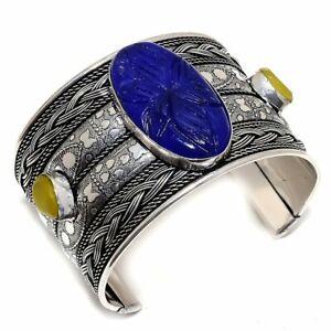 Carved Lapis Lazuli, Yellow Onyx Silver Jewelry Cuff Bracelet Adst. MQR-2010