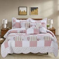 Vintage Patchwork Bedspread Quilted Double King Size Comforter 3pcs Bedding Set