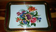 Vintage Baret Ware Metal Plate Tray Flowers Bright Beautiful 18 Inch