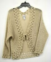 Chico's Womens Tan Crochet Knit Knot Tie Front Long Sleeve Cardigan Sweater 0