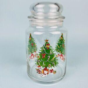 Vintage Anchor Hocking Holiday Magic Christmas Storage Jar with Cover 26 oz. USA