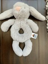 Jellycat Bunny Rattle Blue Baby Ring Grabber Lovey Soft Plush Toy Infant
