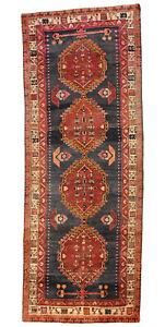 Vintage Tribal Oriental Hamadan Runner, 4'x9', Blue/Ivory, All wool pile