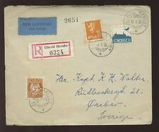 NORWAY REGISTERED AIRMAIL 1938...ULLEVAL HAVEBY ETIQUETTE...3 stamps franking