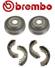 Set of 2 Brembo Rear Brake Drums & Aftermarket Rear Brake Shoes For Honda Civic