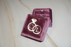 Personalised Beautiful Quality New Square Velvet Wedding Ring Box Gift