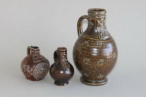 GERMANY   3 stoneware jug s Bartmann bearded man tiger glaze