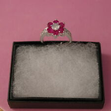 BEAUTIFUL Natural RED Ruby & white CZ 925 SILIVER Ring 2.3 GR SIZE P IN GIFT BOX