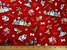 Dog Fabric By The Yard Funny Dogs Breeds Bones Words Dk Mottled Red Cotton Bolt