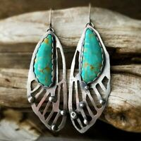Vintage Boho Tibetan 925 Silver Turquoise Gem Dangle Hook Earrings Women Jewelry