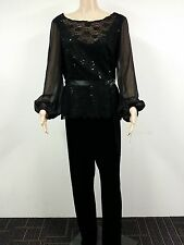 NEW - Alex Evenings - Size XL - Long Sleeve Sequin Lace with Pants - Black $129