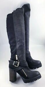 New Look size 5 (38) black leather suede side zip block heel knee high boots