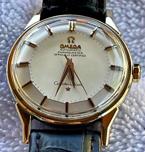 Vintage Omega Constellation 14k Gold Capped Over SS Watch With Pie Pan Dial