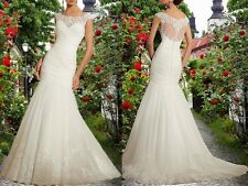 New Generous White/Ivory Mermaid Wedding Dress Bridal Gown Custom Size 2017