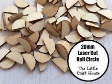 12 x 20mm Wooden Half Circle Laser Cut Semi Moon Shape Ply Blank Circles Wood
