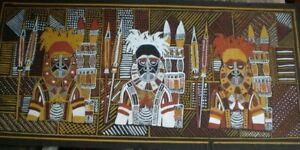 ORIGINAL AUSTRALIA TORRIS STRAIGHTS ISLANDS WARRIORS PAINTING 100 X 45 CM PICKUP