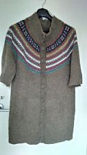 Cardigan tunic 18, short sleeve, 2 front pockets, beige, relaxed, cosy, VGC